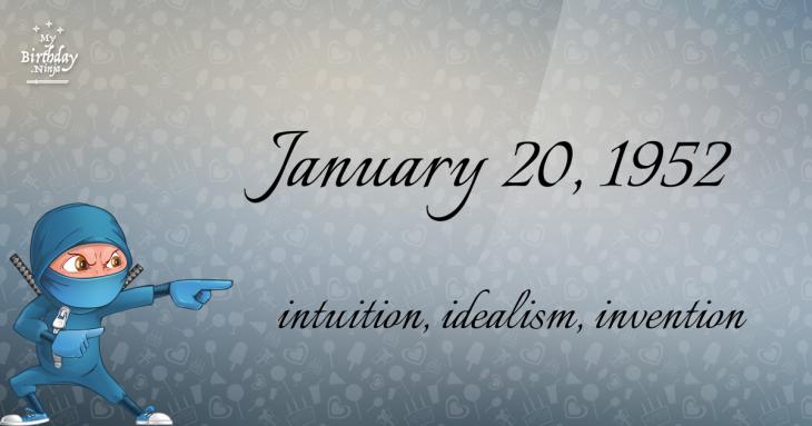 January 20, 1952 Birthday Ninja