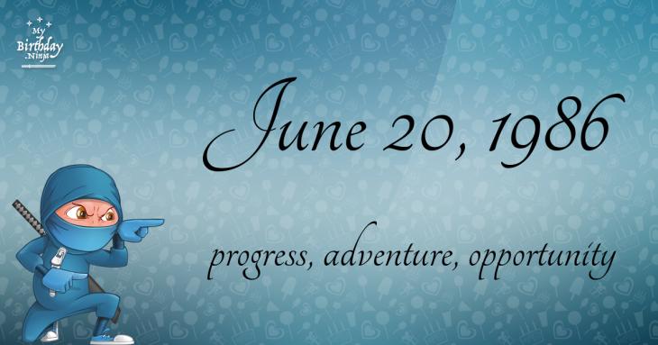 June 20, 1986 Birthday Ninja