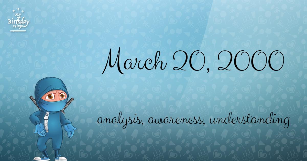March 20, 2000 Birthday Ninja Poster