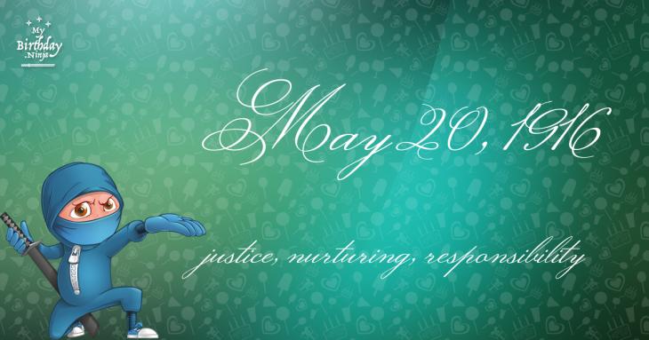 May 20, 1916 Birthday Ninja