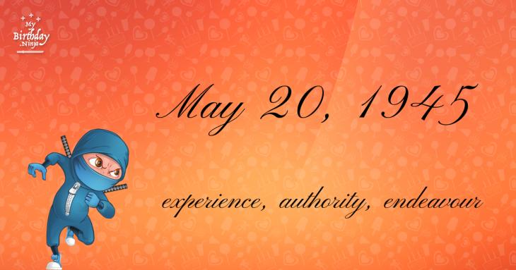 May 20, 1945 Birthday Ninja