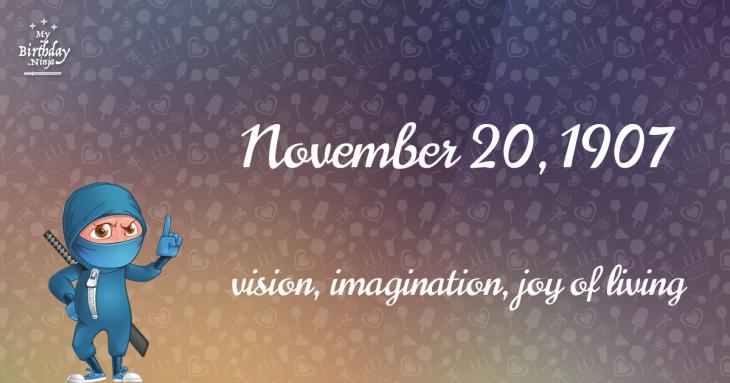 November 20, 1907 Birthday Ninja