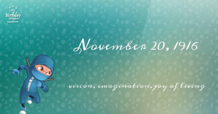 November 20, 1916 Birthday Ninja