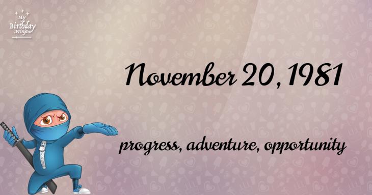 November 20, 1981 Birthday Ninja