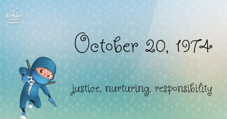 October 20, 1974 Birthday Ninja