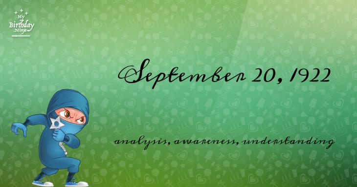 September 20, 1922 Birthday Ninja