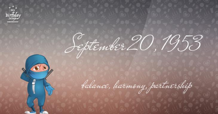 September 20, 1953 Birthday Ninja