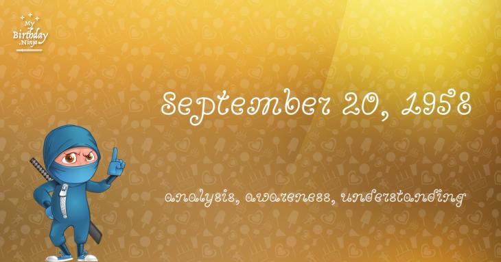 September 20, 1958 Birthday Ninja