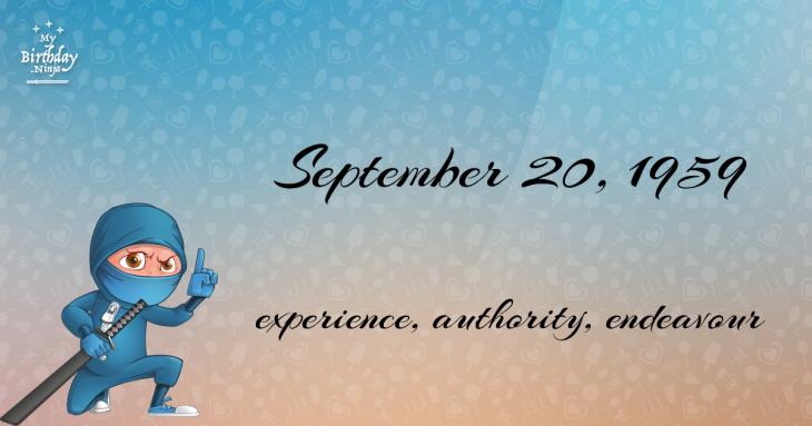 September 20, 1959 Birthday Ninja