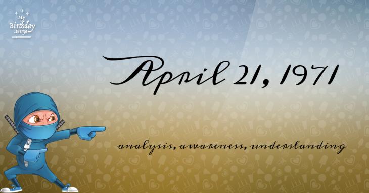 April 21, 1971 Birthday Ninja