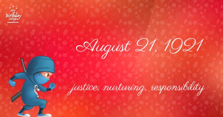 August 21, 1921 Birthday Ninja