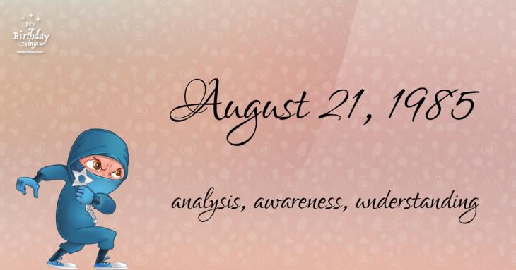 August 21, 1985 Birthday Ninja