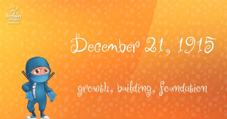 December 21, 1915 Birthday Ninja