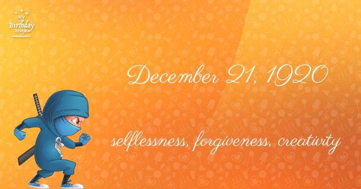 December 21, 1920 Birthday Ninja