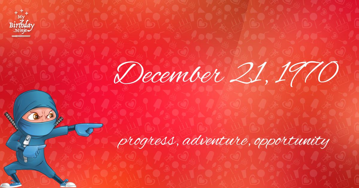 December 21, 1970 Birthday Ninja Poster
