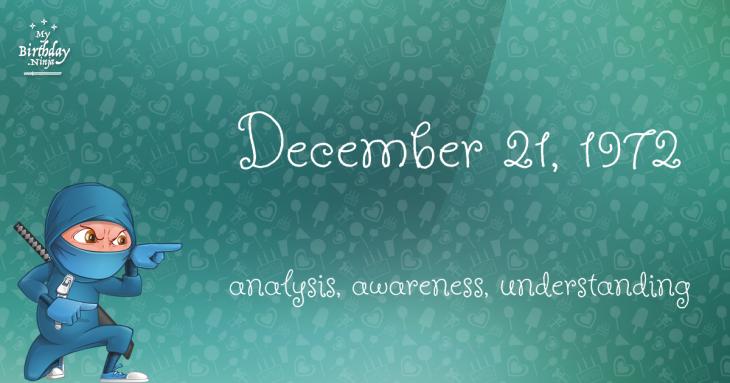 December 21, 1972 Birthday Ninja