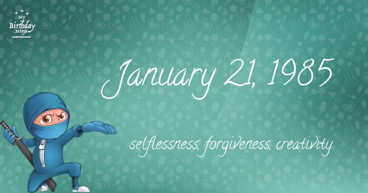 January 21, 1985 Birthday Ninja