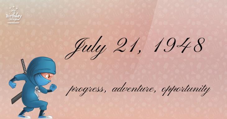 July 21, 1948 Birthday Ninja