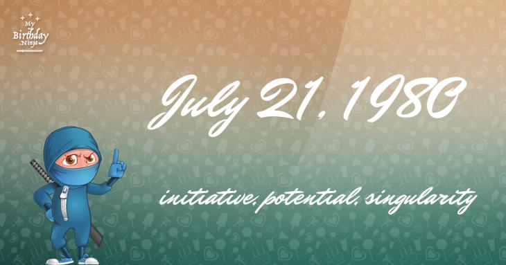 July 21, 1980 Birthday Ninja