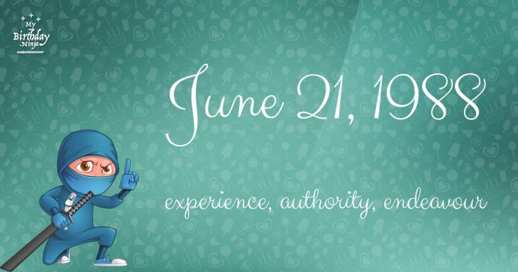 June 21, 1988 Birthday Ninja