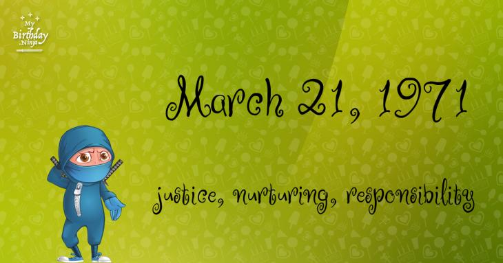 March 21, 1971 Birthday Ninja