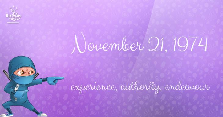 November 21, 1974 Birthday Ninja