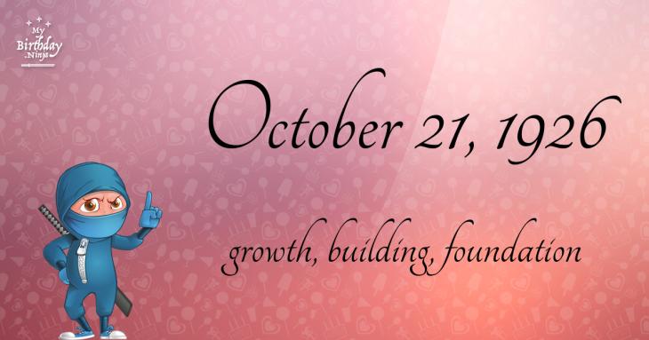 October 21, 1926 Birthday Ninja