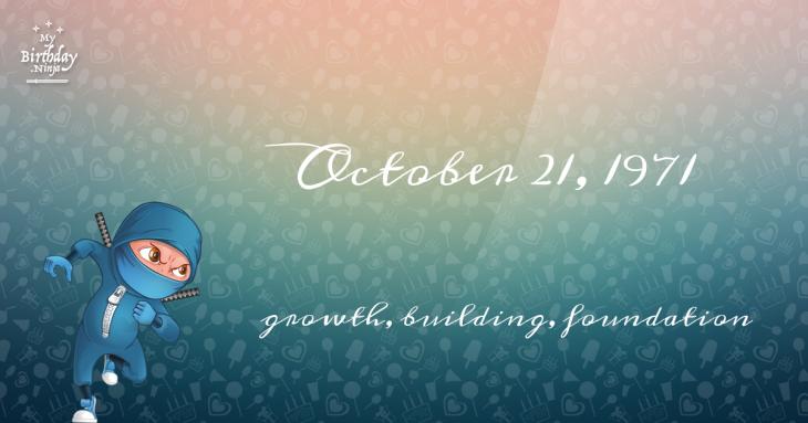 October 21, 1971 Birthday Ninja