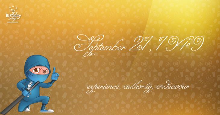 September 21, 1949 Birthday Ninja