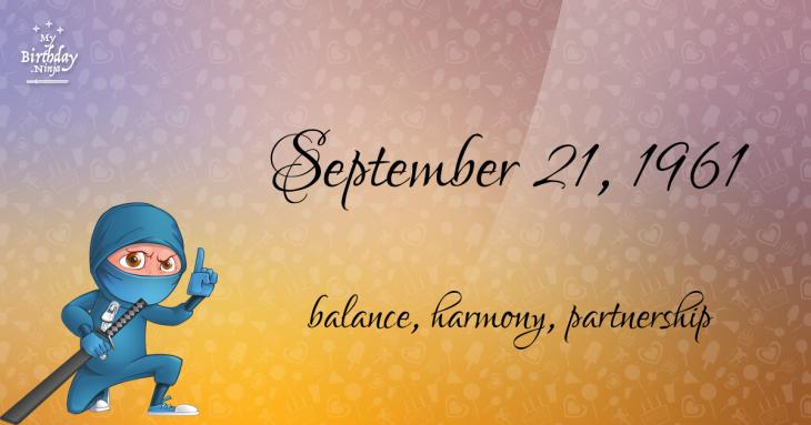 September 21, 1961 Birthday Ninja