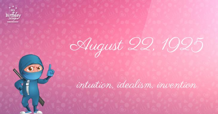 August 22, 1925 Birthday Ninja