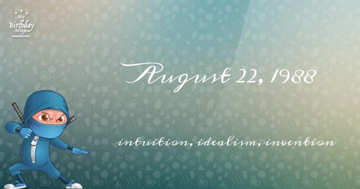 August 22, 1988 Birthday Ninja