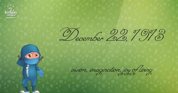 December 22, 1913 Birthday Ninja