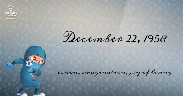 December 22, 1958 Birthday Ninja