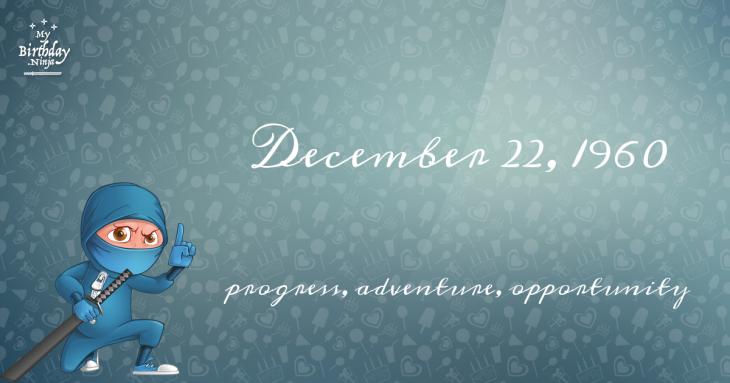 December 22, 1960 Birthday Ninja