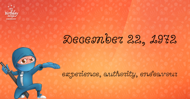 December 22, 1972 Birthday Ninja