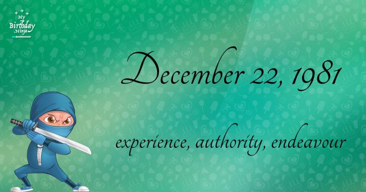 December 22, 1981 Birthday Ninja