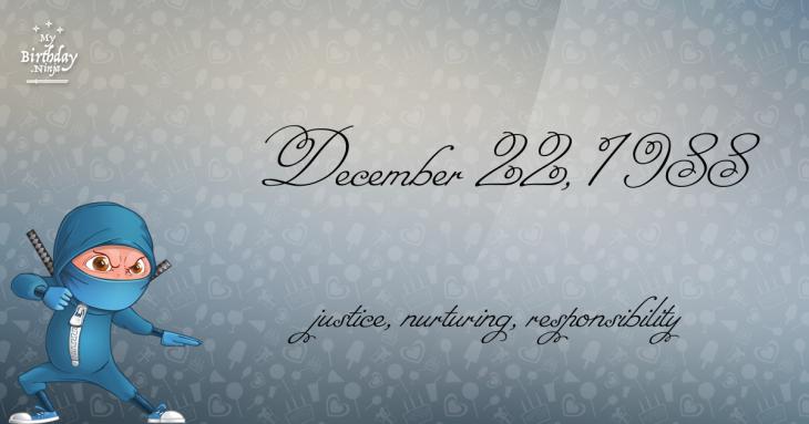 December 22, 1988 Birthday Ninja