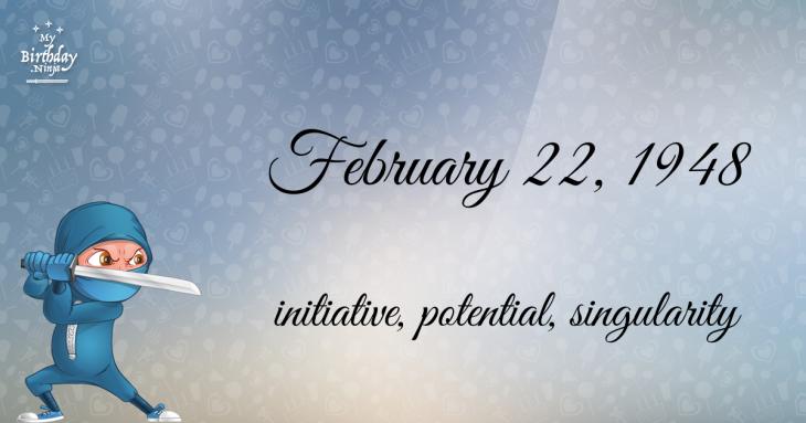 February 22, 1948 Birthday Ninja
