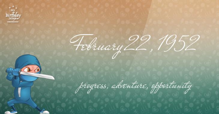 February 22, 1952 Birthday Ninja