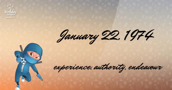 January 22, 1974 Birthday Ninja