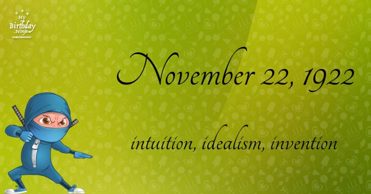 November 22, 1922 Birthday Ninja