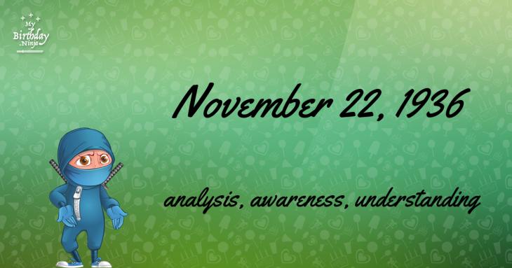 November 22, 1936 Birthday Ninja