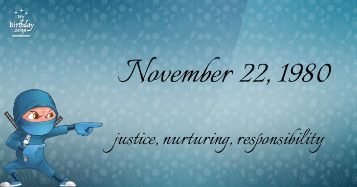 November 22, 1980 Birthday Ninja