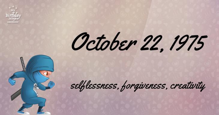 October 22, 1975 Birthday Ninja