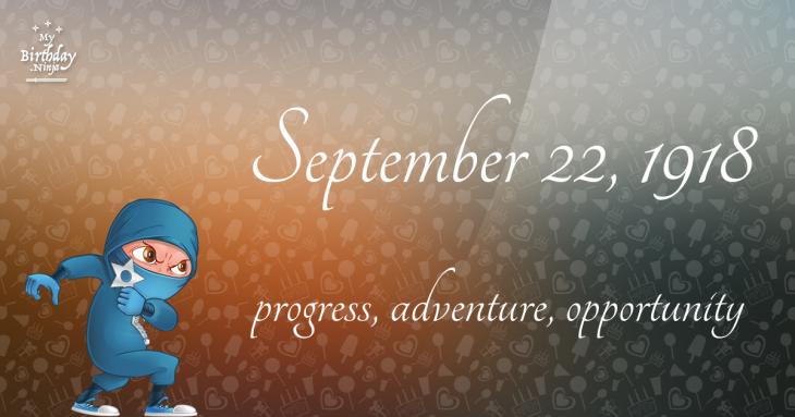 September 22, 1918 Birthday Ninja