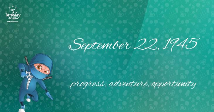 September 22, 1945 Birthday Ninja