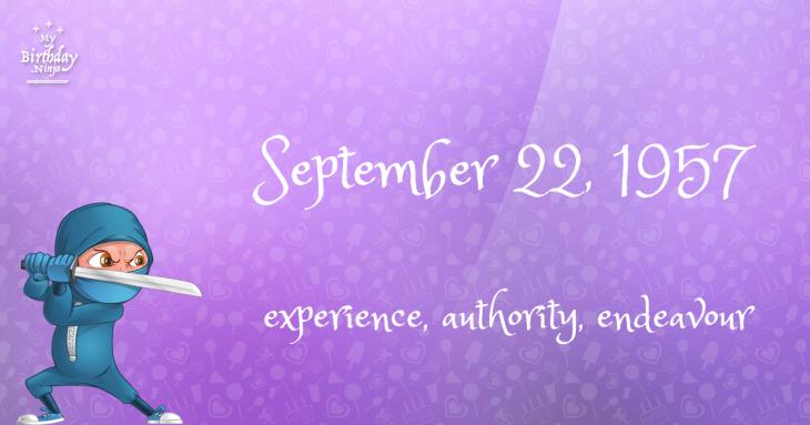 September 22, 1957 Birthday Ninja