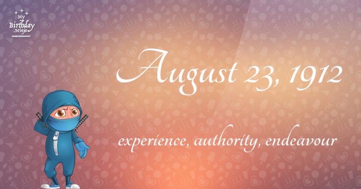 August 23, 1912 Birthday Ninja