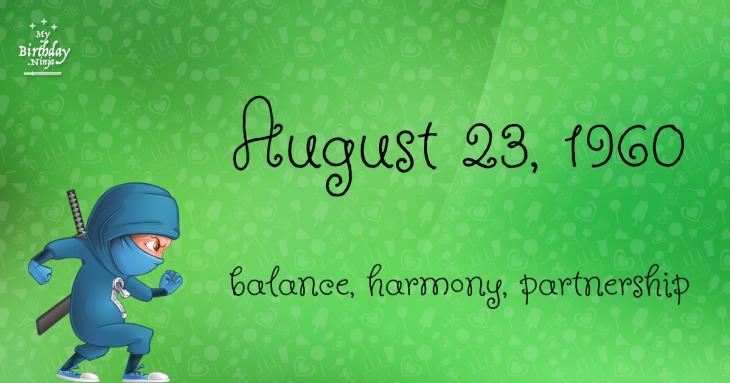 August 23, 1960 Birthday Ninja